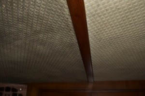 Vee berth headliner before and after