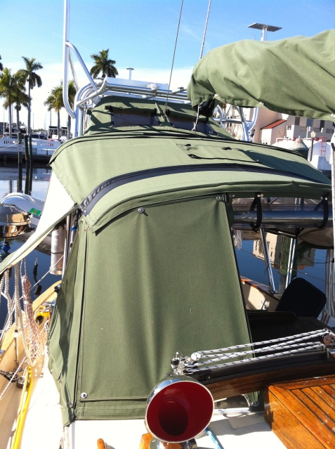 Port side of dodger with sun shade affixed.